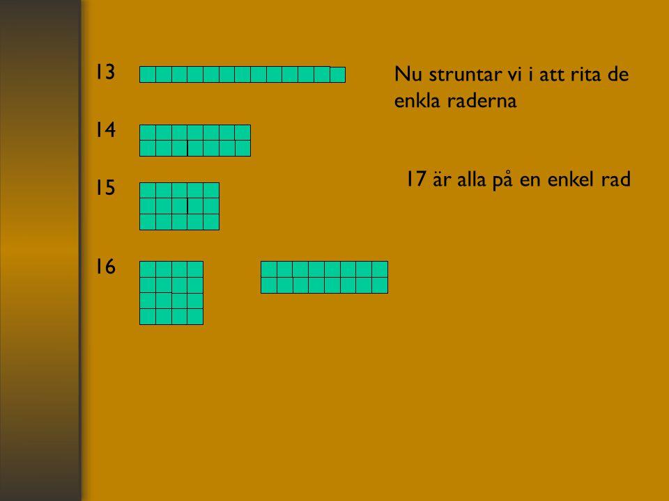 13 Nu struntar vi i att rita de enkla raderna 14 15 16 17 är alla på en enkel rad