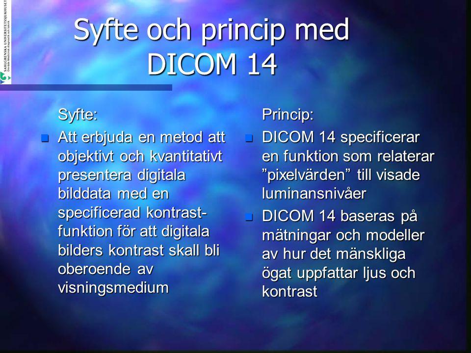 Syfte och princip med DICOM 14 Syfte: n Att erbjuda en metod att objektivt och kvantitativt presentera digitala bilddata med en specificerad kontrast-