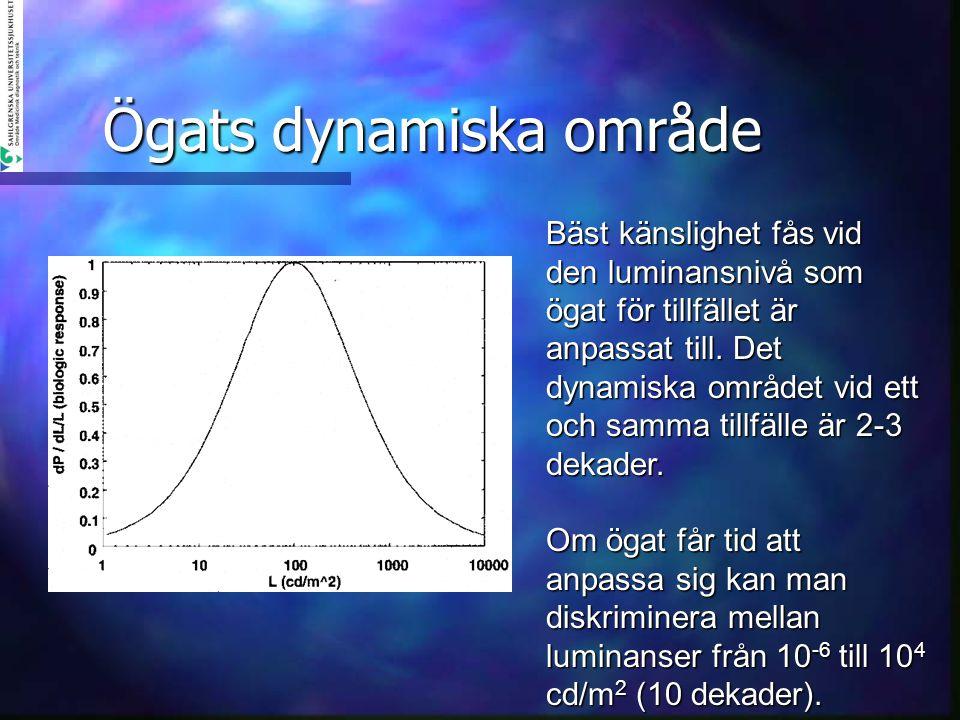 Ögats dynamiska område Bäst känslighet fås vid den luminansnivå som ögat för tillfället är anpassat till. Det dynamiska området vid ett och samma till