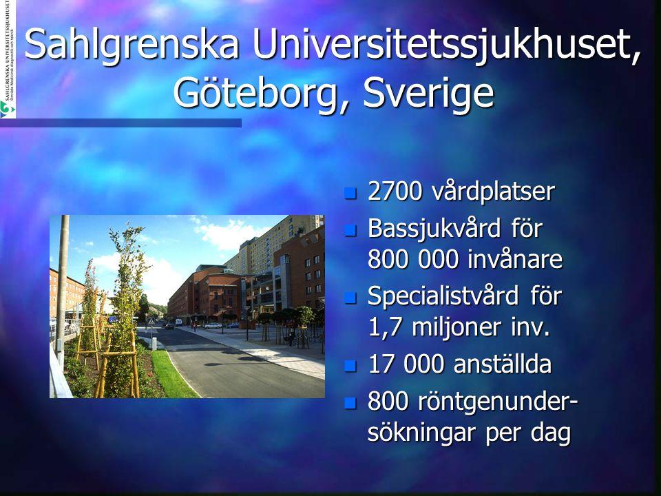Sahlgrenska Universitetssjukhuset, Göteborg, Sverige n 2700 vårdplatser n Bassjukvård för 800 000 invånare n Specialistvård för 1,7 miljoner inv. n 17