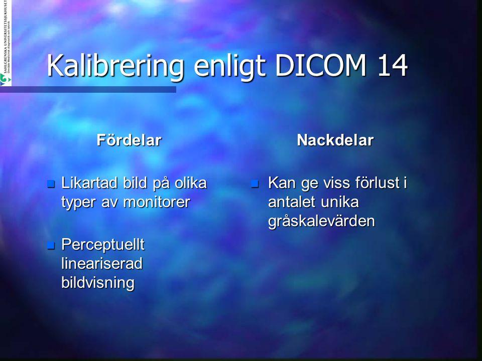 Kalibrering enligt DICOM 14 Fördelar n Likartad bild på olika typer av monitorer n Perceptuellt lineariserad bildvisning Nackdelar n Kan ge viss förlu