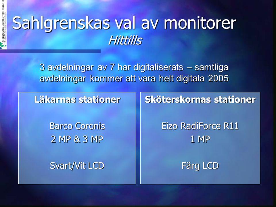 Sahlgrenskas val av monitorer Hittills Läkarnas stationer Barco Coronis 2 MP & 3 MP Svart/Vit LCD Sköterskornas stationer Eizo RadiForce R11 1 MP Färg