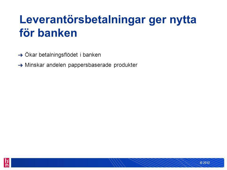 © 2012 Leverantörsbetalningar är lätt att börja använda För att kunden ska kunna använda Leverantörsbetalningar måste det finnas… En programvara som kan sända och ta emot återrapportering från Bankgirot Ett avtal med banken om tjänsten En kommunikationslösning (via Bankgirot eller banken)