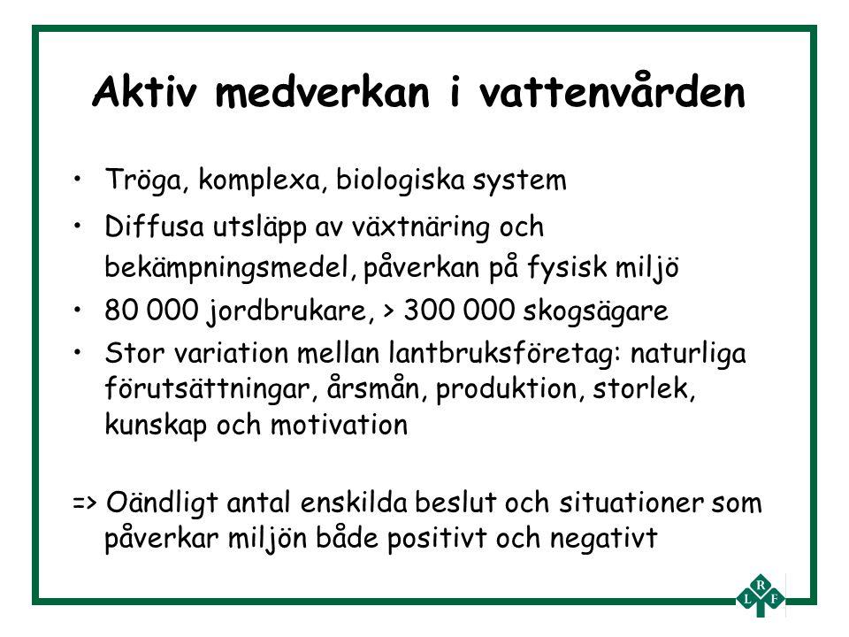 Aktiv medverkan i vattenvården Tröga, komplexa, biologiska system Diffusa utsläpp av växtnäring och bekämpningsmedel, påverkan på fysisk miljö 80 000 jordbrukare, > 300 000 skogsägare Stor variation mellan lantbruksföretag: naturliga förutsättningar, årsmån, produktion, storlek, kunskap och motivation => Oändligt antal enskilda beslut och situationer som påverkar miljön både positivt och negativt