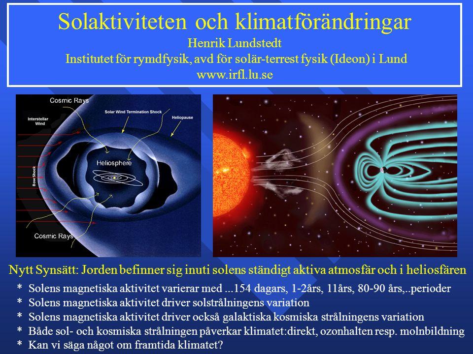 Solaktiviteten och klimatförändringar Henrik Lundstedt Institutet för rymdfysik, avd för solär-terrest fysik (Ideon) i Lund www.irfl.lu.se * Solens ma