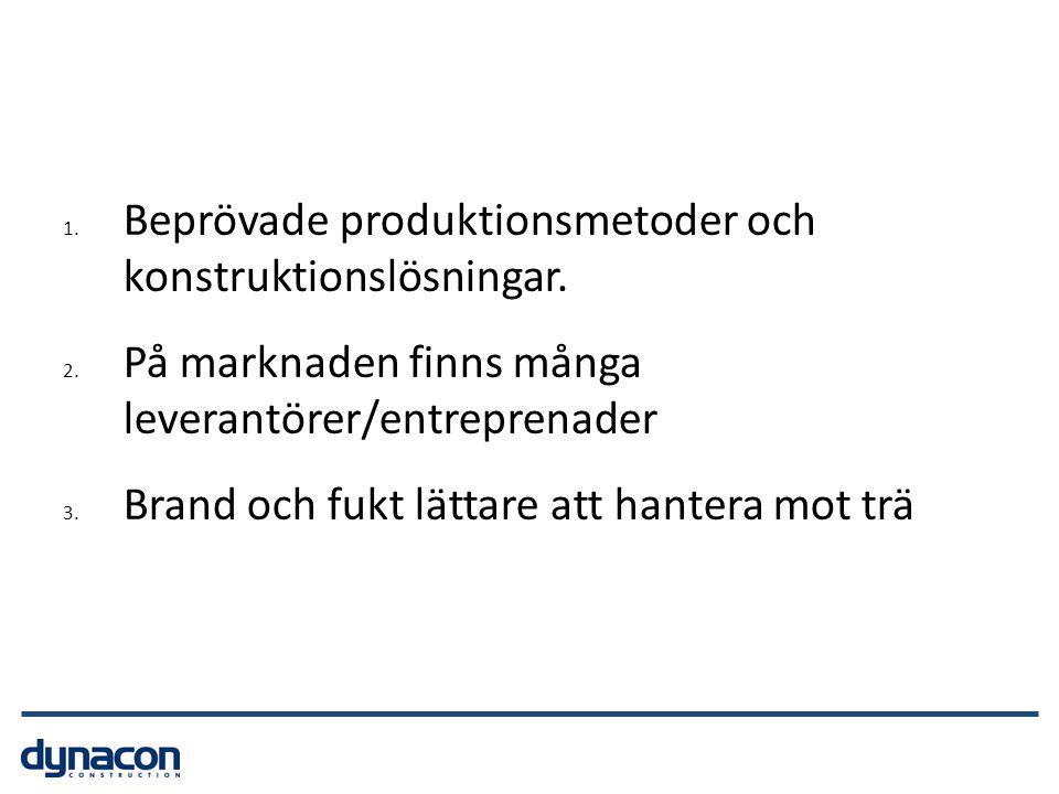 1. Beprövade produktionsmetoder och konstruktionslösningar. 2. På marknaden finns många leverantörer/entreprenader 3. Brand och fukt lättare att hante
