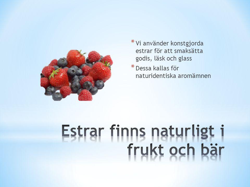 * Vi använder konstgjorda estrar för att smaksätta godis, läsk och glass * Dessa kallas för naturidentiska aromämnen