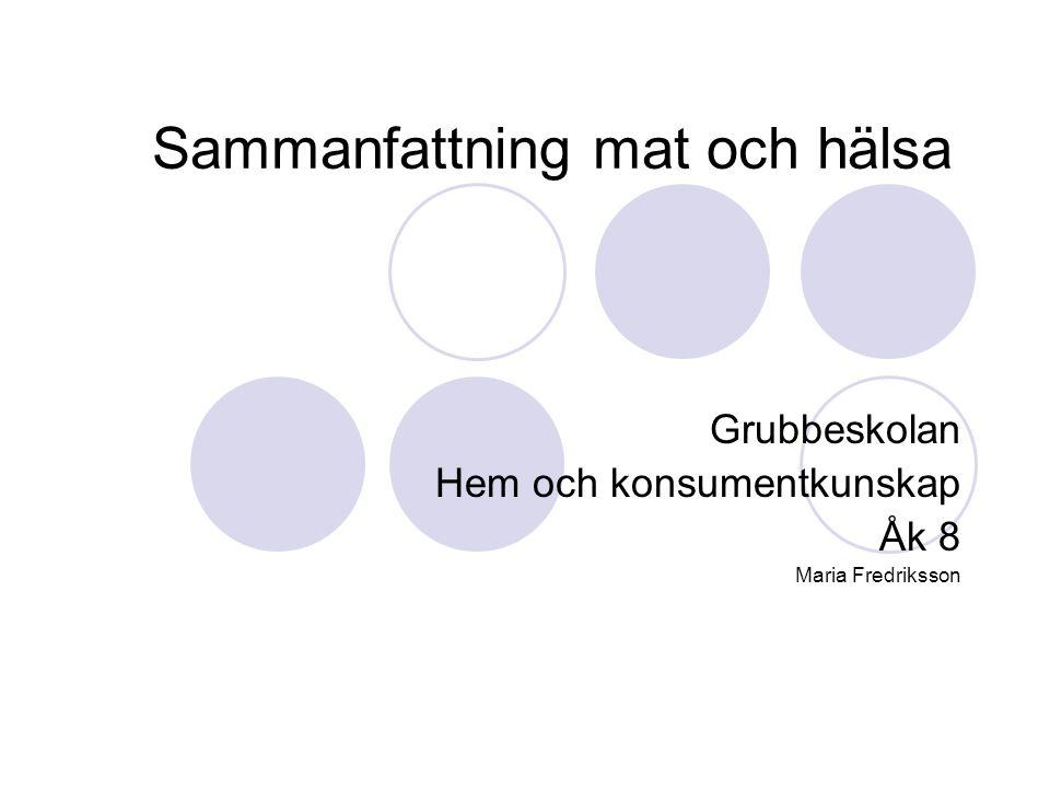 Sammanfattning mat och hälsa Grubbeskolan Hem och konsumentkunskap Åk 8 Maria Fredriksson