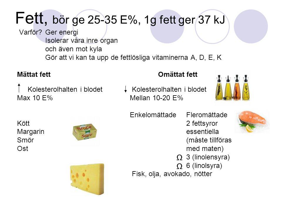 Fett, bör ge 25-35 E%, 1g fett ger 37 kJ Varför? Ger energi Isolerar våra inre organ och även mot kyla Gör att vi kan ta upp de fettlösliga vitaminern