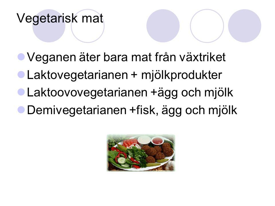 Vegetarisk mat Veganen äter bara mat från växtriket Laktovegetarianen + mjölkprodukter Laktoovovegetarianen +ägg och mjölk Demivegetarianen +fisk, ägg