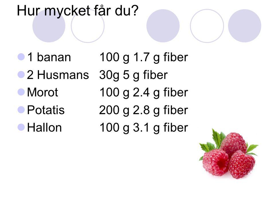 Hur mycket får du? 1 banan100 g 1.7 g fiber 2 Husmans30g 5 g fiber Morot100 g 2.4 g fiber Potatis200 g 2.8 g fiber Hallon100 g 3.1 g fiber