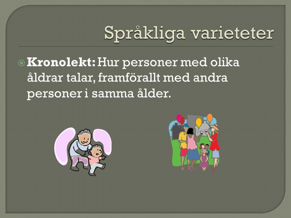  Kronolekt: Hur personer med olika åldrar talar, framförallt med andra personer i samma ålder.