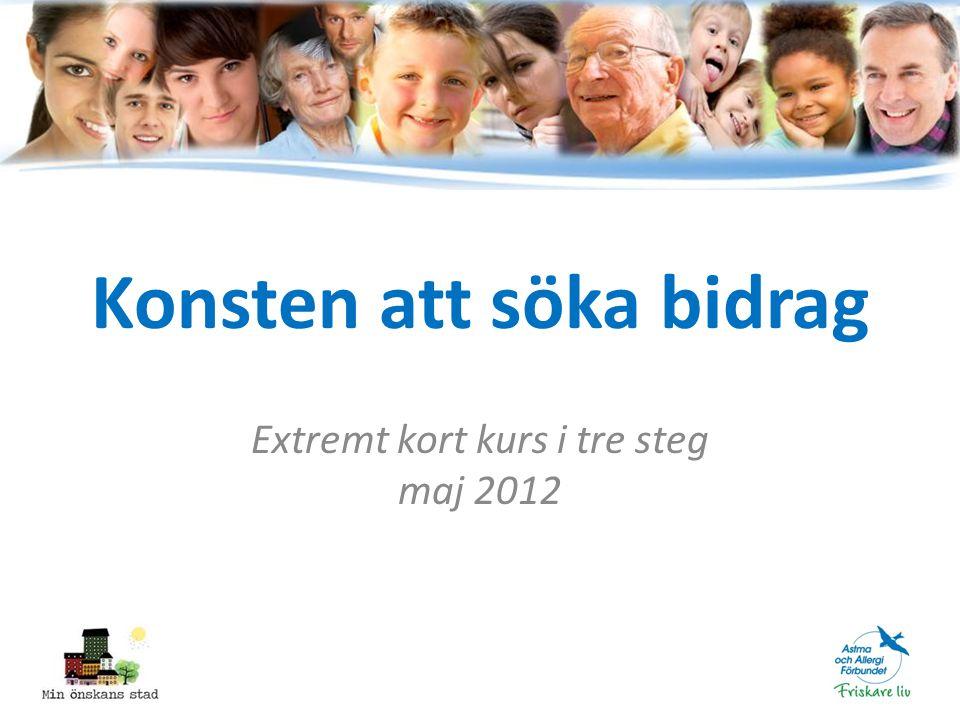 Konsten att söka bidrag Extremt kort kurs i tre steg maj 2012