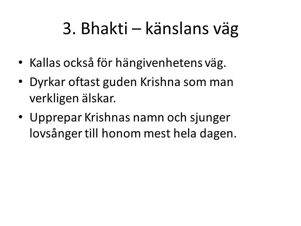 3. Bhakti – känslans väg Kallas också för hängivenhetens väg. Dyrkar oftast guden Krishna som man verkligen älskar. Upprepar Krishnas namn och sjunger