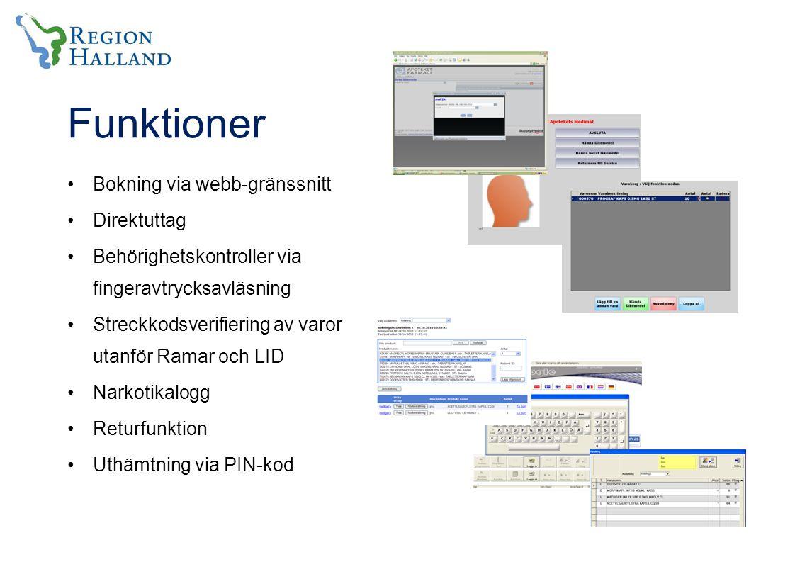 Funktioner Bokning via webb-gränssnitt Direktuttag Behörighetskontroller via fingeravtrycksavläsning Streckkodsverifiering av varor utanför Ramar och LID Narkotikalogg Returfunktion Uthämtning via PIN-kod