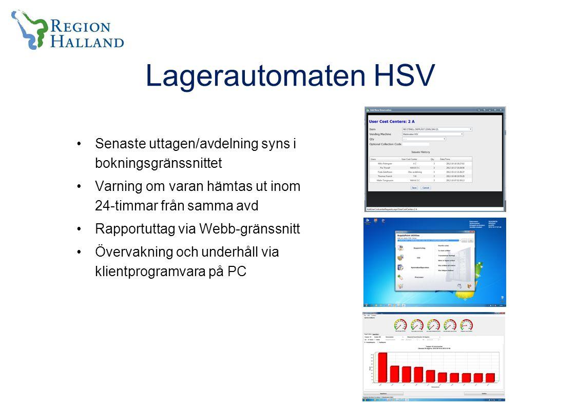 Lagerautomaten HSV Senaste uttagen/avdelning syns i bokningsgränssnittet Varning om varan hämtas ut inom 24-timmar från samma avd Rapportuttag via Webb-gränssnitt Övervakning och underhåll via klientprogramvara på PC