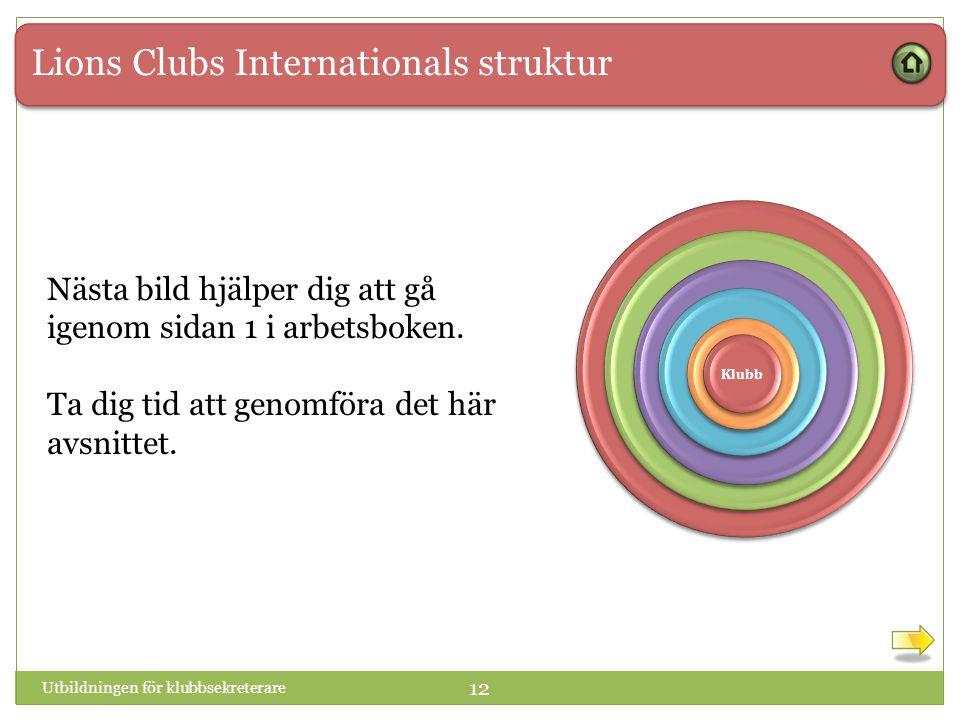 Lions Clubs Internationals struktur 1 1 Klubb Utbildningen för klubbsekreterare 12 Nästa bild hjälper dig att gå igenom sidan 1 i arbetsboken.