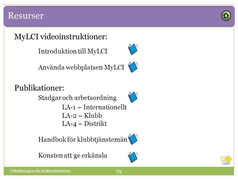 Resurser Utbildningen för klubbsekreterare 79 Publikationer: Stadgar och arbetsordning LA-1 – Internationellt LA-2 – Klubb LA-4 – Distrikt Handbok för klubbtjänstemän Konsten att ge erkänsla MyLCI videoinstruktioner: Introduktion till MyLCI Använda webbplatsen MyLCI