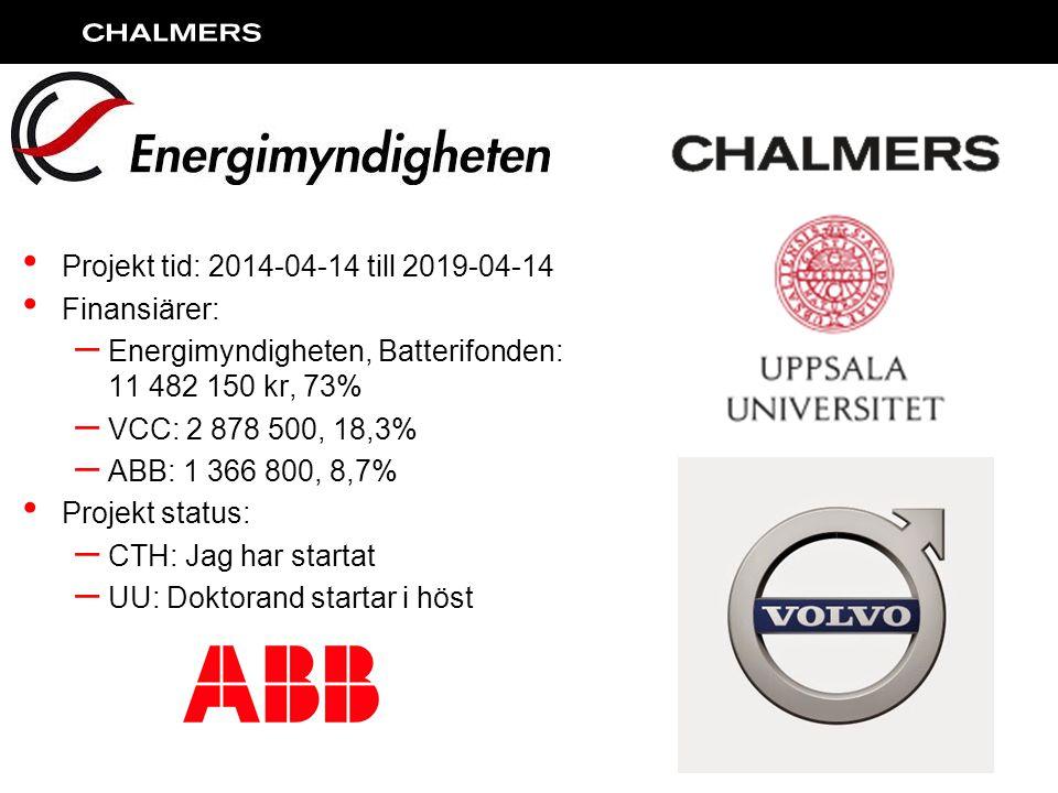 Projekt tid: 2014-04-14 till 2019-04-14 Finansiärer: – Energimyndigheten, Batterifonden: 11 482 150 kr, 73% – VCC: 2 878 500, 18,3% – ABB: 1 366 800, 8,7% Projekt status: – CTH: Jag har startat – UU: Doktorand startar i höst