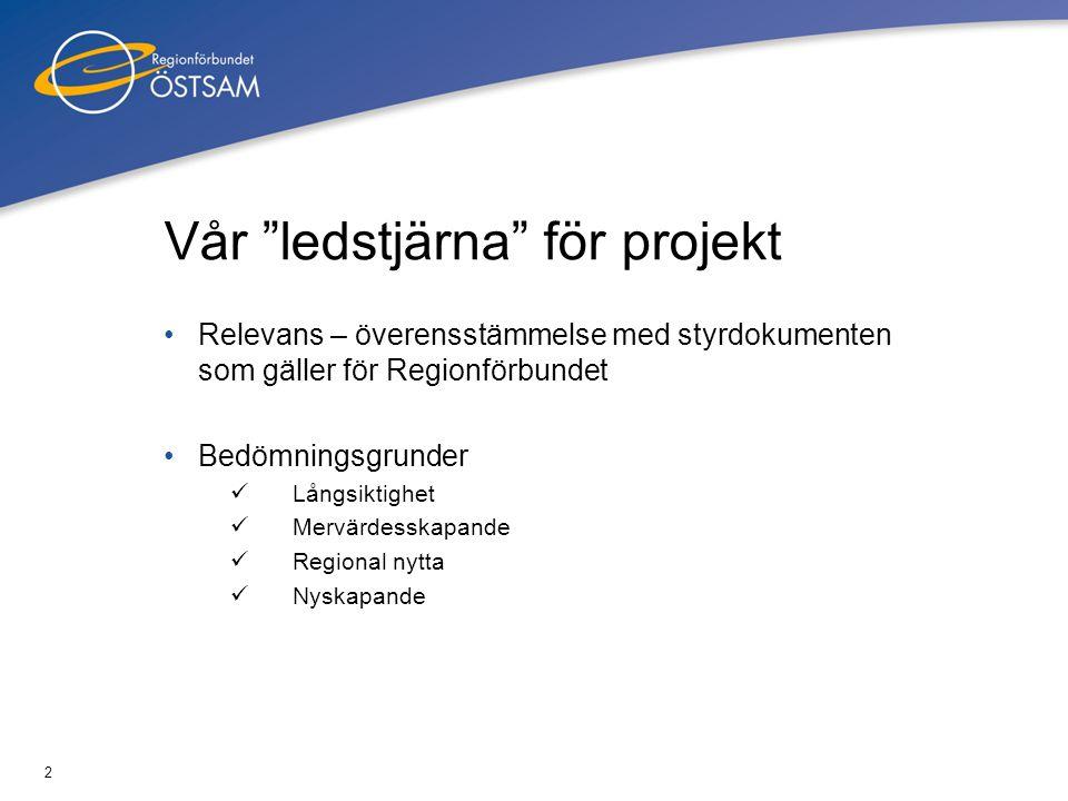 """2 Vår """"ledstjärna"""" för projekt Relevans – överensstämmelse med styrdokumenten som gäller för Regionförbundet Bedömningsgrunder Långsiktighet Mervärdes"""