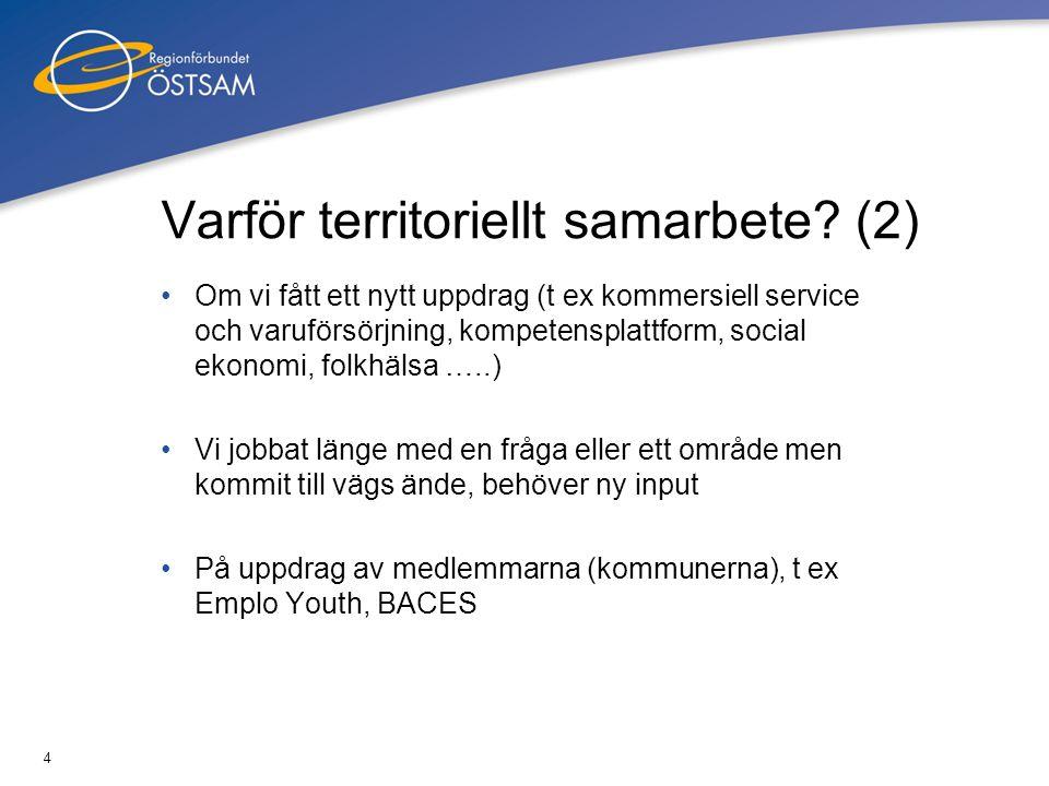 4 Varför territoriellt samarbete? (2) Om vi fått ett nytt uppdrag (t ex kommersiell service och varuförsörjning, kompetensplattform, social ekonomi, f