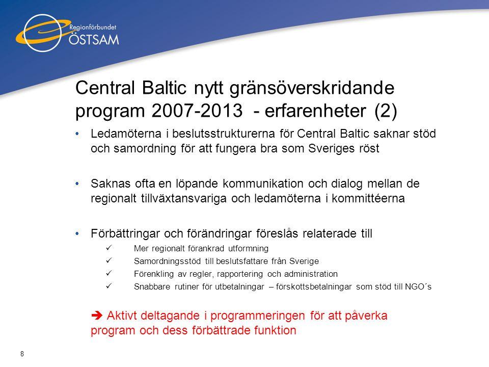 8 Central Baltic nytt gränsöverskridande program 2007-2013 - erfarenheter (2) Ledamöterna i beslutsstrukturerna för Central Baltic saknar stöd och sam