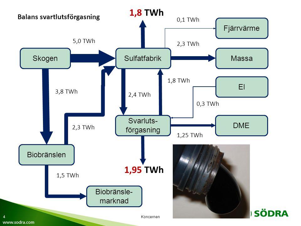 Koncernen SkogenSulfatfabrikMassa Fjärrvärme Svarluts- förgasning Biobränslen El Biobränsle- marknad 5,0 TWh 3,8 TWh 2,3 TWh 1,5 TWh 1,8 TWh 0,1 TWh 2