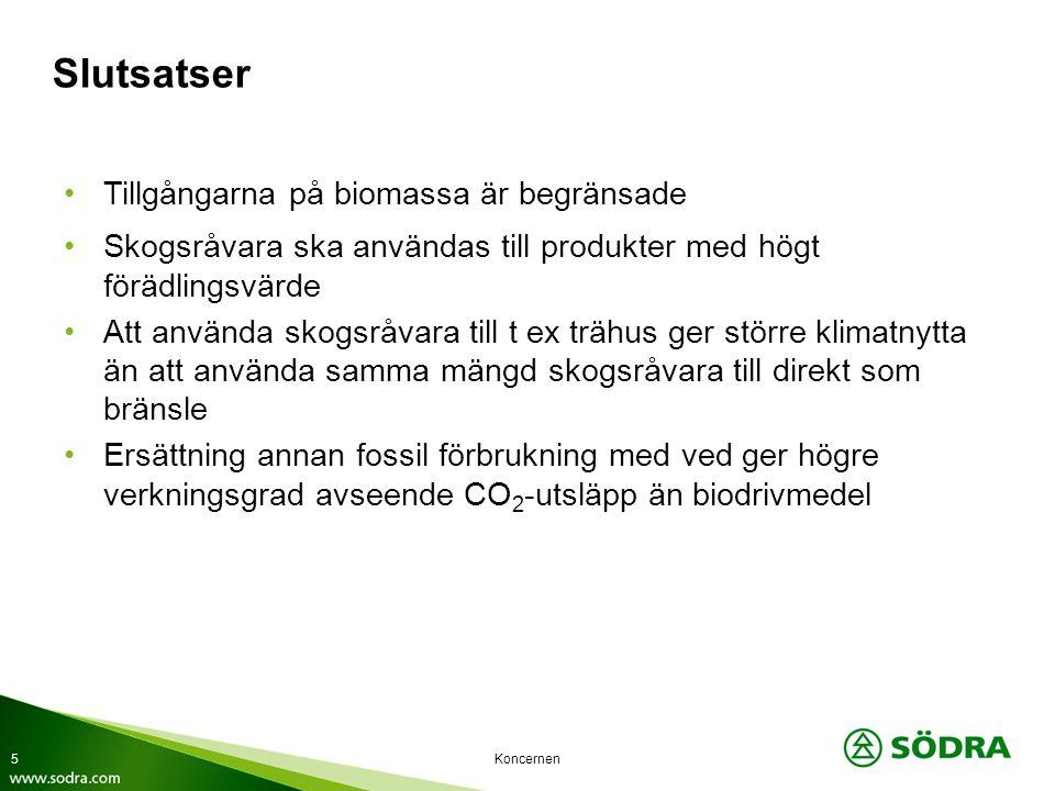 Koncernen Slutsatser Tillgångarna på biomassa är begränsade Skogsråvara ska användas till produkter med högt förädlingsvärde Att använda skogsråvara t