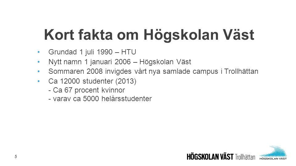 Grundad 1 juli 1990 – HTU Nytt namn 1 januari 2006 – Högskolan Väst Sommaren 2008 invigdes vårt nya samlade campus i Trollhättan Ca 12000 studenter (2013) - Ca 67 procent kvinnor - varav ca 5000 helårsstudenter Kort fakta om Högskolan Väst 5