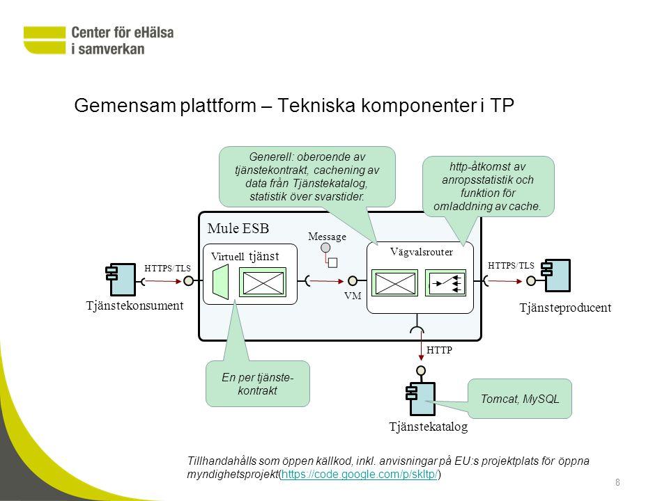 Tjänsteplattformar in en tjänsteorienterad arkitektur Gemensam plattform (TP) Virtuell tjänst Fysisk tjänst (Producent) Röd lokal tjänst Svart gem.