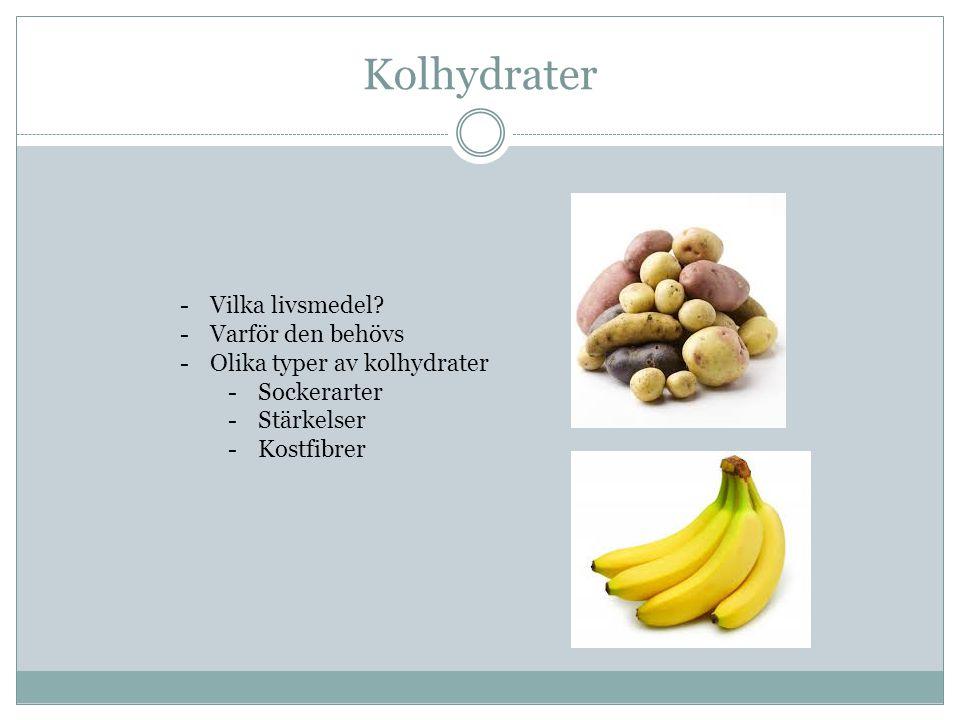 Kolhydrater -Vilka livsmedel.