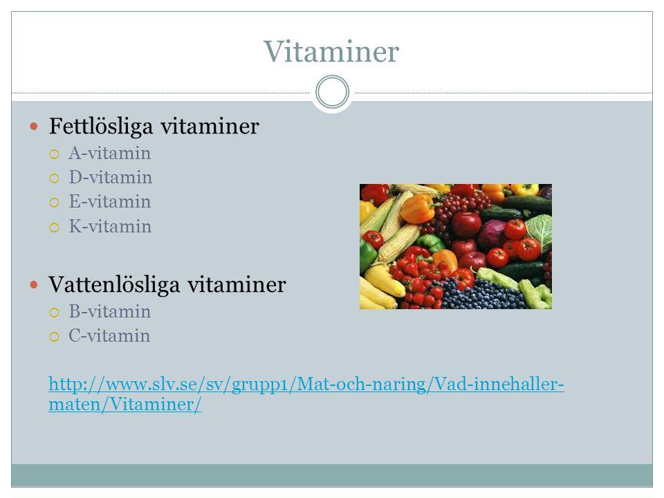 Vitaminer Fettlösliga vitaminer  A-vitamin  D-vitamin  E-vitamin  K-vitamin Vattenlösliga vitaminer  B-vitamin  C-vitamin http://www.slv.se/sv/grupp1/Mat-och-naring/Vad-innehaller- maten/Vitaminer/