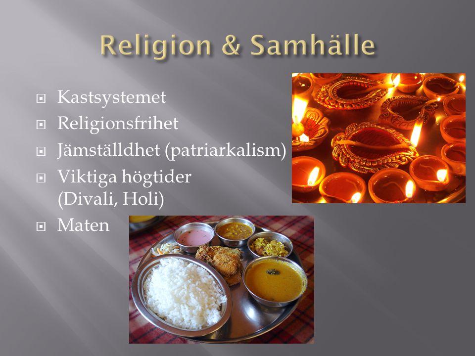  Kastsystemet  Religionsfrihet  Jämställdhet (patriarkalism)  Viktiga högtider (Divali, Holi)  Maten