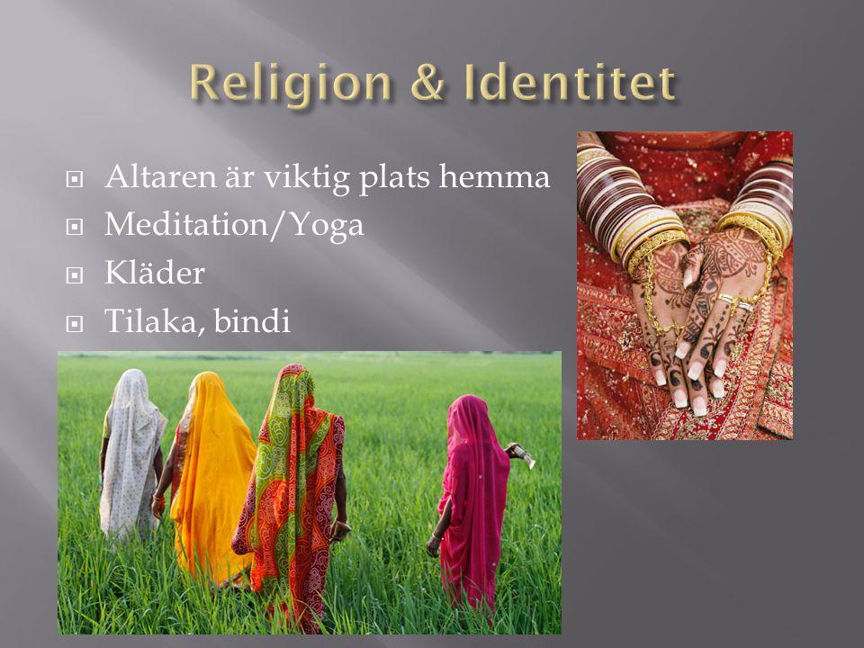  Altaren är viktig plats hemma  Meditation/Yoga  Kläder  Tilaka, bindi