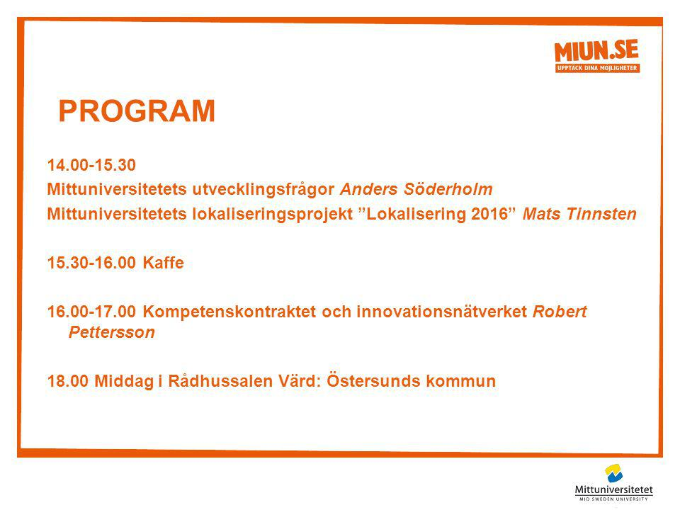 """PROGRAM 14.00-15.30 Mittuniversitetets utvecklingsfrågor Anders Söderholm Mittuniversitetets lokaliseringsprojekt """"Lokalisering 2016"""" Mats Tinnsten 15"""
