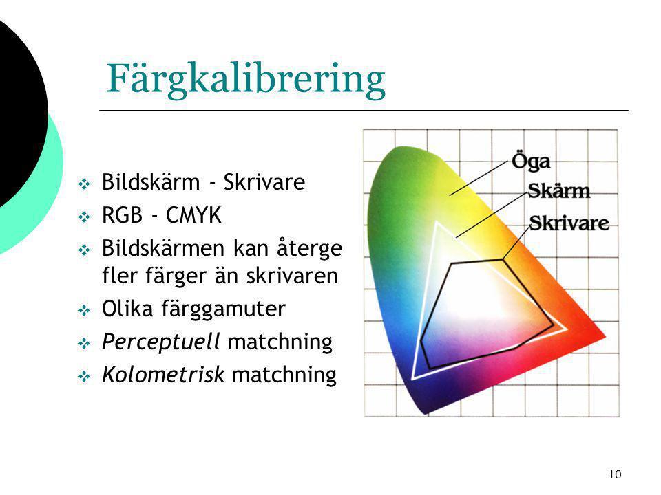 10 Färgkalibrering  Bildskärm - Skrivare  RGB - CMYK  Bildskärmen kan återge fler färger än skrivaren  Olika färggamuter  Perceptuell matchning  Kolometrisk matchning