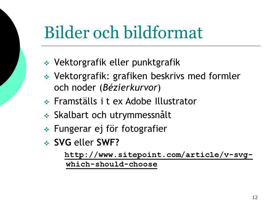 12 Bilder och bildformat  Vektorgrafik eller punktgrafik  Vektorgrafik: grafiken beskrivs med formler och noder (Bézierkurvor)  Framställs i t ex Adobe Illustrator  Skalbart och utrymmessnålt  Fungerar ej för fotografier  SVG eller SWF.