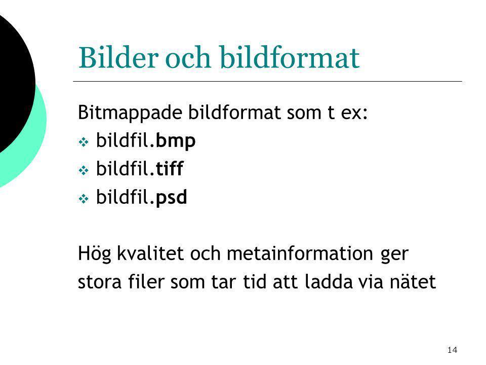 14 Bilder och bildformat Bitmappade bildformat som t ex:  bildfil.bmp  bildfil.tiff  bildfil.psd Hög kvalitet och metainformation ger stora filer som tar tid att ladda via nätet