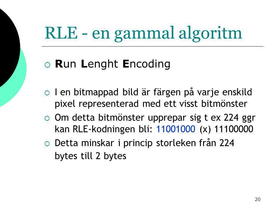 20 RLE - en gammal algoritm  Run Lenght Encoding  I en bitmappad bild är färgen på varje enskild pixel representerad med ett visst bitmönster  Om detta bitmönster upprepar sig t ex 224 ggr kan RLE-kodningen bli: 11001000 (x) 11100000  Detta minskar i princip storleken från 224 bytes till 2 bytes