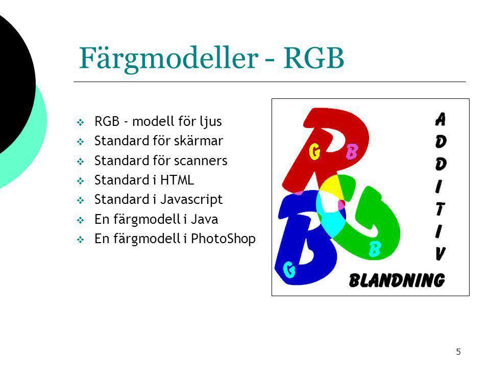5 Färgmodeller - RGB  RGB - modell för ljus  Standard för skärmar  Standard för scanners  Standard i HTML  Standard i Javascript  En färgmodell i Java  En färgmodell i PhotoShop