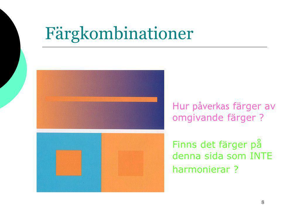 9 Bilders färgdjup  Varje pixel i en punktuppbyggd bild innehåller information om sin färg bildens färgdjup  Hur många bitar som går åt till detta kallas för bildens färgdjup  1 bit, 0 eller 1för en s/v bild (streckteckning)  4 bitars = 2*2*2*2 = 16 färger  8 bitar ger 256 färger High Color  16 bitar ger High Color True Color  24 32 bitar ger True Color