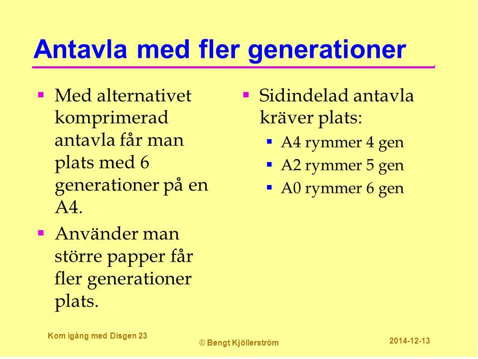 Antavla med fler generationer  Med alternativet komprimerad antavla får man plats med 6 generationer på en A4.  Använder man större papper får fler