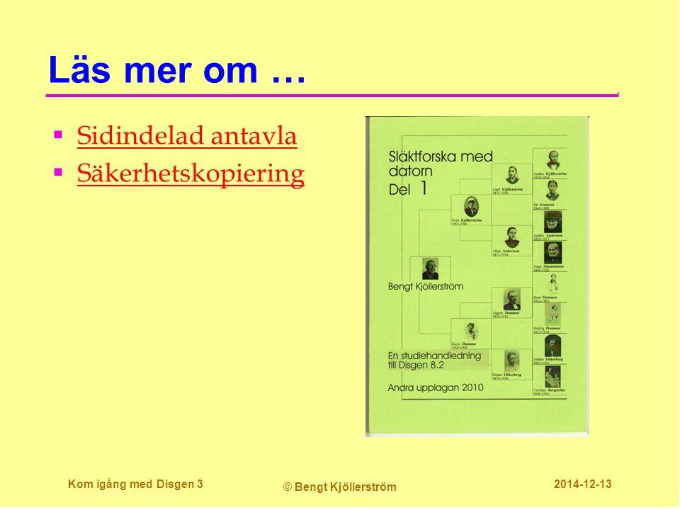 Utskrift på stora papper med pdf- skrivare  Vill man göra stora släkttavlor kan man använda en pdf- skrivare som ger en fil vilken kan skrivas ut på en skrivbyrå i riktigt stort format  På den egna skrivaren kan man skriva ut stora ark på två sätt  Utskriften förminskas till A4  Utskriften fördelas på flera A4 ark som klisras ihop till ursprungsformatet Kom igång med Disgen 24 © Bengt Kjöllerström 2014-12-13