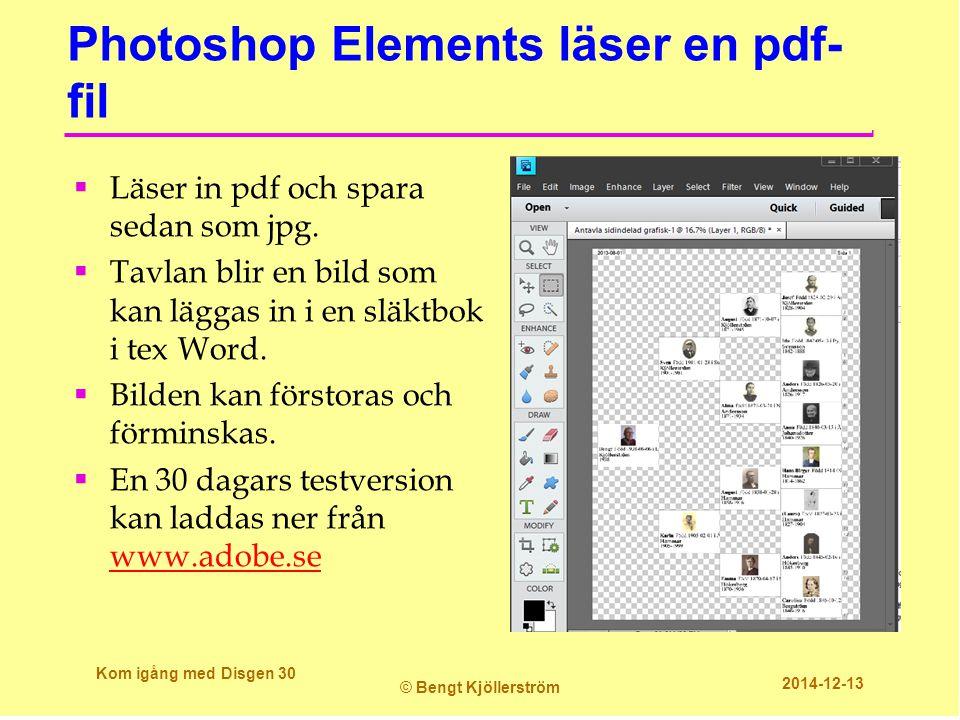 Photoshop Elements läser en pdf- fil  Läser in pdf och spara sedan som jpg.