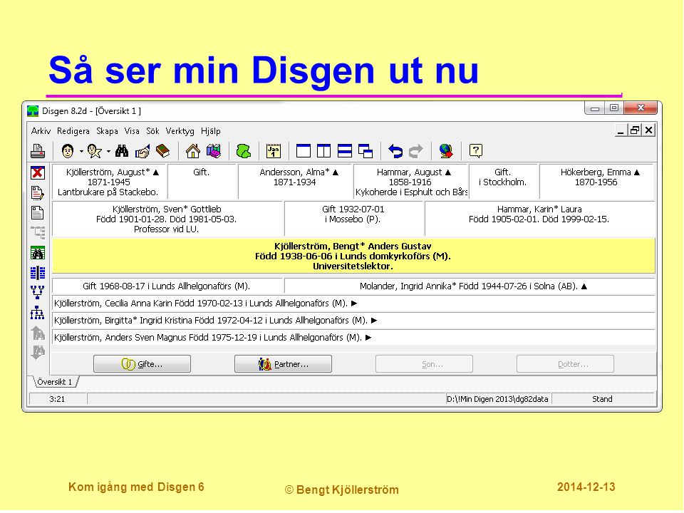 Skriv ut sidindelad antavla  Med rätt centrum- person tryck:  Skivarikonen  Arkiv/Skriv ut...