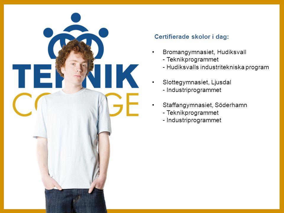 Certifierade skolor i dag: Bromangymnasiet, Hudiksvall - Teknikprogrammet - Hudiksvalls industritekniska program Slottegymnasiet, Ljusdal - Industriprogrammet Staffangymnasiet, Söderhamn - Teknikprogrammet - Industriprogrammet
