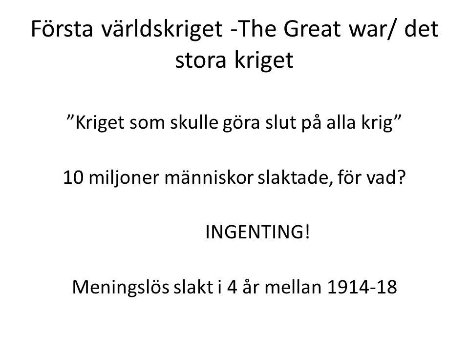 """Första världskriget -The Great war/ det stora kriget """"Kriget som skulle göra slut på alla krig"""" 10 miljoner människor slaktade, för vad? INGENTING! Me"""