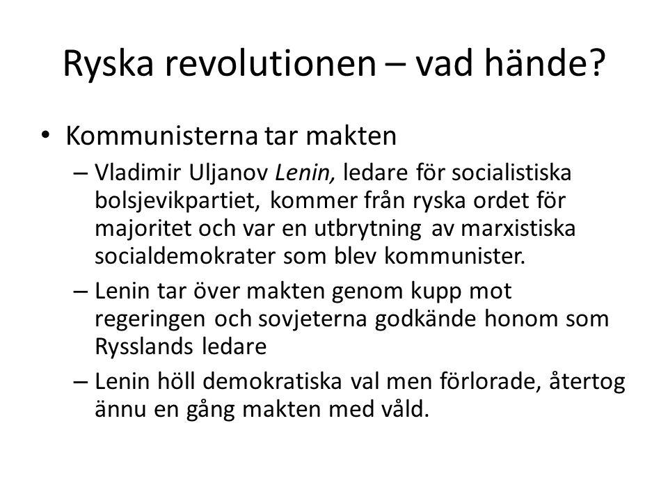 Ryska revolutionen – vad hände? Kommunisterna tar makten – Vladimir Uljanov Lenin, ledare för socialistiska bolsjevikpartiet, kommer från ryska ordet