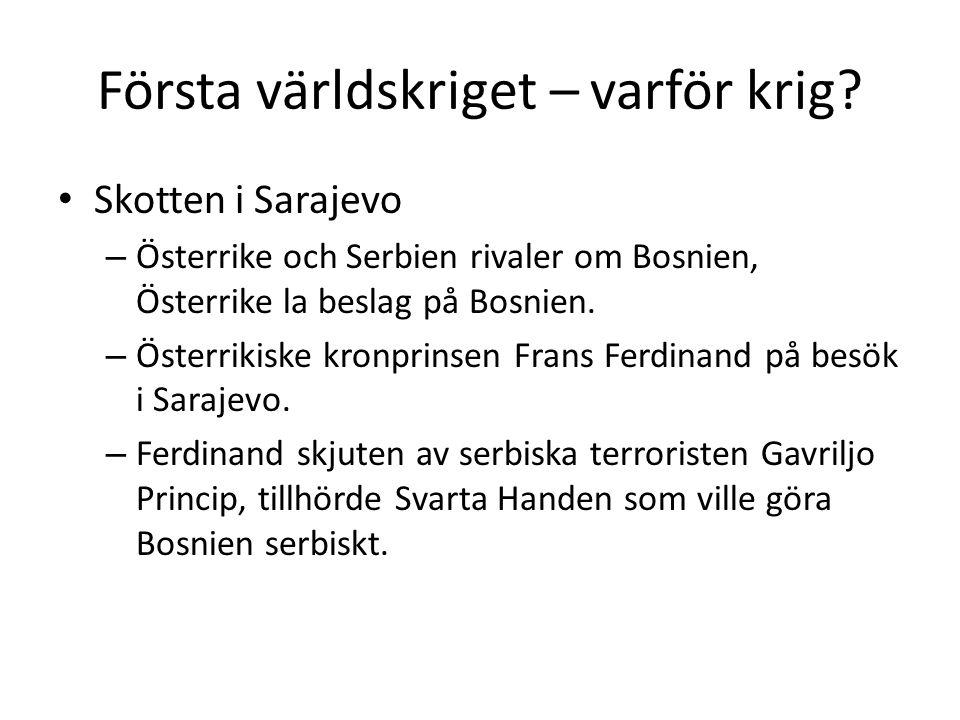 Första världskriget – varför krig? Skotten i Sarajevo – Österrike och Serbien rivaler om Bosnien, Österrike la beslag på Bosnien. – Österrikiske kronp