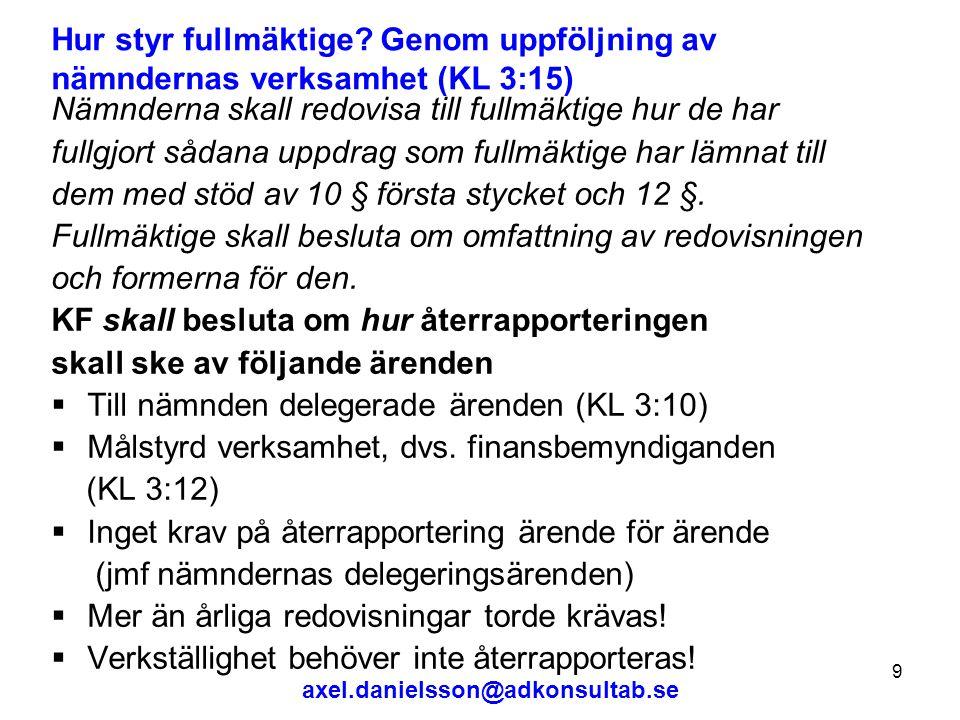 axel.danielsson@adkonsultab.se 9 Hur styr fullmäktige.